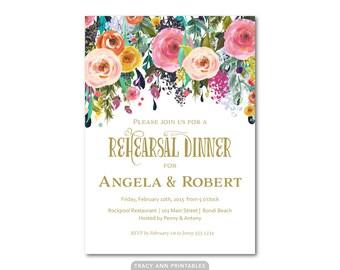 Rehearsal Dinner | Flower Invitation | Bridal Invitation | Rehearsal Dinner Invitation 4510
