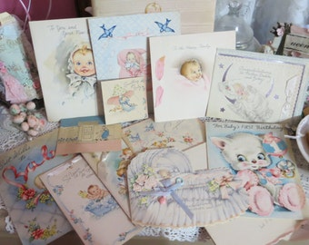 Vintage Greeting Cards Lot-Ephemera-Mixed Media-Paper-Crafts-Scrap Booking-Baby-Childrens-Set of 21