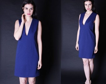 SALE 65% OFF ends 02/16 1960s Cocktail Dress - 60s Short Dress - Plunging Neckline Dress - Deep V Neck Dress - 2683