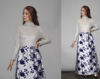Vintage 1960s Silver Metallic Knit Floral Maxi Dress - Vintage 60s Maxi Dress   - WD0704
