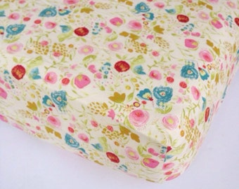 Crib Sheet Girls Crib Bedding - Pink Gold Turquoise Nursery / Changing Pad Cover / Fitted Crib Sheet / Floral Baby Bedding /