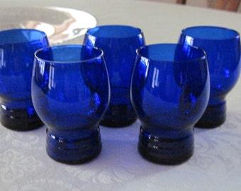 5 Vintage Cobalt Blue Flat Tumblers Ring Design Shaeffer Pattern Imperial Glass-Ohio, Circa 1930's