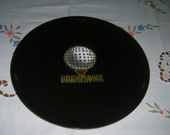 Vintage Mid Century Couroc Tray Platter Inlaid Brass Golf Ball On Tee Design Monterey California