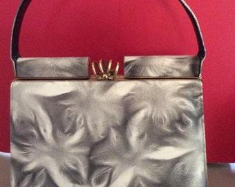 Vintage 1950s 1960s Handbag Leather Productos Olvera Hecho En Mexico Unique Pattern