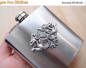 CLEAROUT SALE 40% OFF Double mythical dragon Hip Flask steampunk stainless steel brass Vintage design Holds 6 oz
