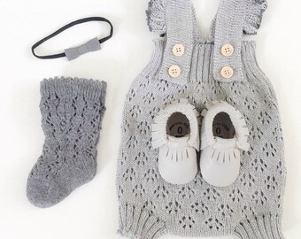 Lace romper Baby romper Baby girl clothes Knit romper Baby jumpsuit photo prop Baby overall lace romper in Gray Comming home clothes