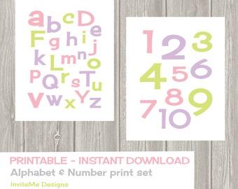 Alphabet and Number Prints - Nursery Decor - Nursery Wall Art - Kids Wall Art Instant Download - DIY - Printable