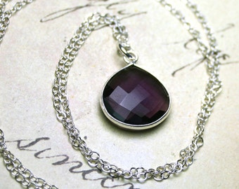 Amethyst Pendant - Genuine Purple Amethyst Pear Shaped Gemstone With Sterling Silver