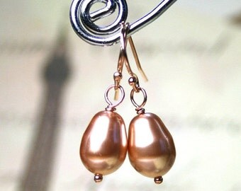 ON SALE Rose Gold Pearl Earrings - Swarovski Crystal Teardrop Pearls with 14K Rose Gold Filled Findings