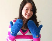 Chunky crochet wool knitted mittens - royal blue, hot pink, apple green, violet, emerald green, or dark purple - accessories under 35