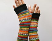 Merino Wool Gloves - Wool Arm warmers - Fingerless Gloves - Fashion Gloves - Rainbow Fingerless Gloves nO 53.