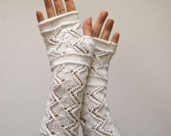 White Lace Knit Fingerless Gloves - White Gloves - Winter Weddings Lace Fingerless Gloves - Fall Gloves - Feminine Fingerless nO 129