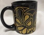 Black and Gold Coffee Mug Hand Painted Paisley Design