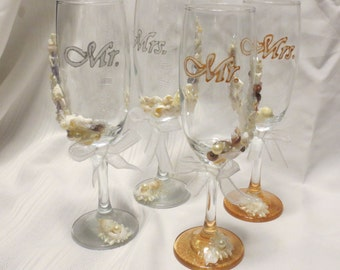 Beach Wedding Glasses Champagne Flutes Hand Painted Destination Bride & Groom Nautical Shells Pearls Beads