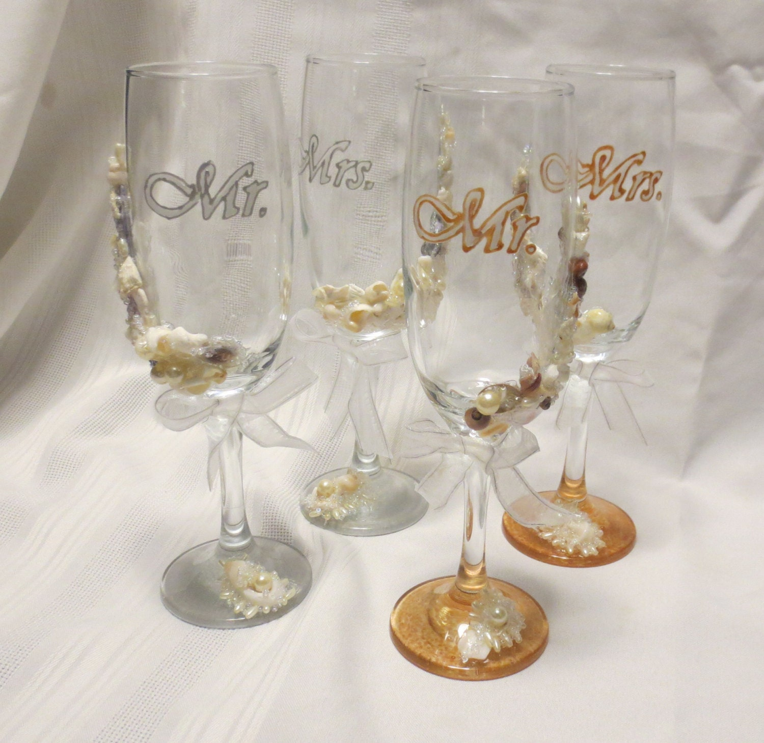 Beach Champagne: Beach Wedding Glasses Champagne Flutes Hand Painted