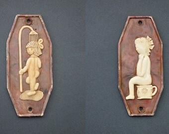 vintage WC sign set of 2  bathroom and toilet  • children bathroom & toilet door signs