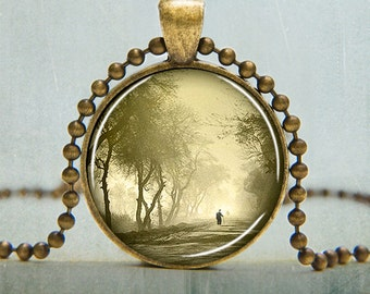 Art Pendant | Misty Morning Art Pendant | Walk in the Forest Art Pendant | Solitary Scene | Gifts Under 25 | 3014