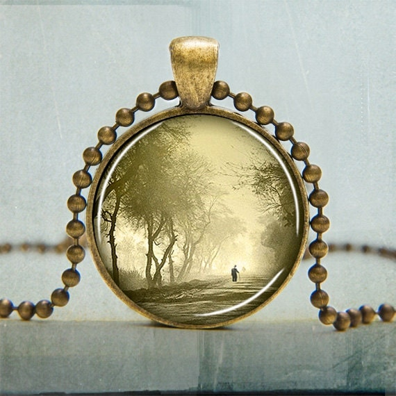 Misty Morning Art Pendant - Fine Art Pendant - Forest Necklace -  Walk in the Forest Art Pendant - Solitary Necklace - Gifts Under 20
