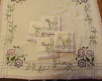 Morning Glory Theme Luncheon Tablecloth With Matching Napkins  ( Hand Embroidered In My Studio)