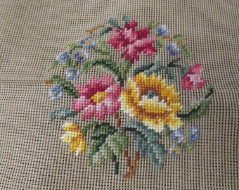 Vintage Imported Needlepoint Canvas ( pre embroidered) Floral Design