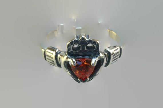 Sterling Silver Claddagh Ring with Birthstone Heart