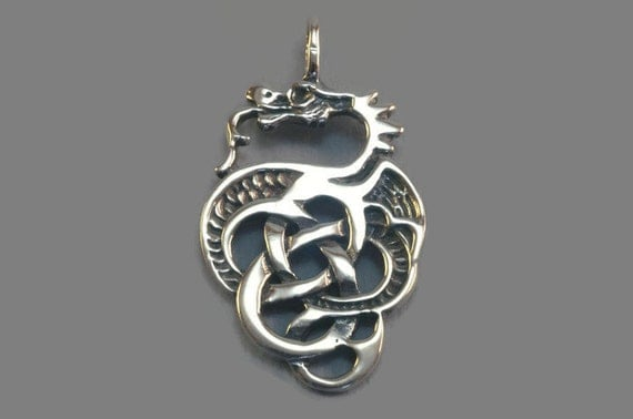 Celtic Knotwork Dragon Pendant in Sterling Silver