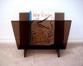 Vintage 70s Lucite Magazine Holder - Modernist Magazine Rack - Atomic 1970s Acrylic Magazine or Album Holder - Minimalist Modern