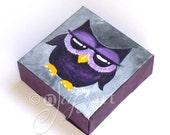 The Daily Hoot - 9.27.15, Mini Purple Owl Painting,  4x4 acrylic canvas art
