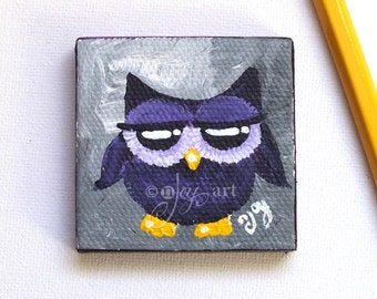 Purple owl art, miniature painting magnet, acrylic canvas art magnet for home or office.