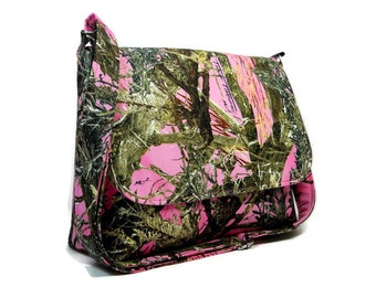 Pink Camo Purse Pink Camouflage Messenger Bag Tree Crossbody Bag Fabric Cross Body Bag Cotton Pocketbook Camo Handbag Medium Tree Purse