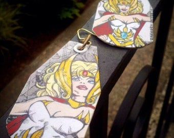 By the Honor of Greyskull - She-Ra Princess of Power hand-painted earrings