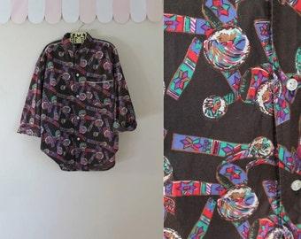 vintage boy's novelty print shirt - NATIVE AMERICAN print cotton button down / 10yr or XXS