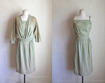 vintage 1960s wool dress set - SPANISH MOSS dress + jacket / S