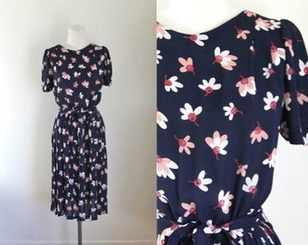 Reserved ///// vintage floral chiffon dress - CHERRY BLOSSOM navy dress / XS-S