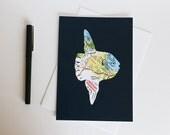Ocean Sunfish Map Art Card // Mola Mola Greeting Card // Monterey Peninsula