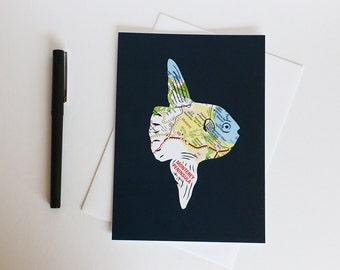 Ocean Sunfish Map Art Card // Mola Mola Greeting Card // Monterey Peninsula