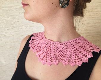 Pink lace collar, crochet Peter Pan collar, pink girl's collar, handmade women's necklace