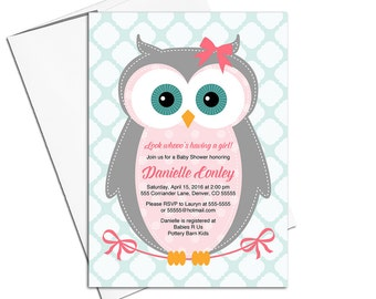 Owl baby shower invitations girl   pink, gray, mint   girl baby shower invites   Evites, printable or printed - WLP00784