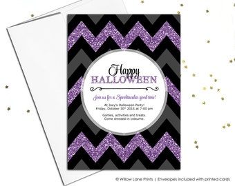 Printable halloween invitations in purple, black and grey chevron | Adult Halloween party invites | DIY digital or printed - WLP00558