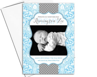 baby boy birth announcement photo cards | blue and gray baby announcement ideas | printable or printed - WLP00171