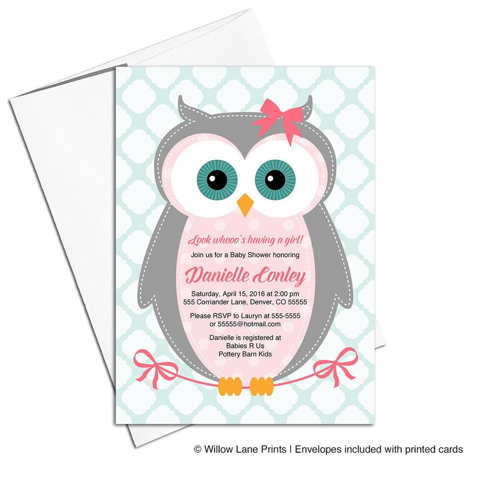 Owl Baby Shower Invitations Girl Pink Gray Mint Girl