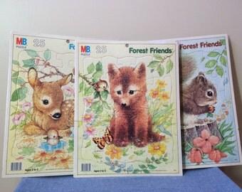1987 Woodland Forest Friends Puzzles - Set of 3 Milton Bradley