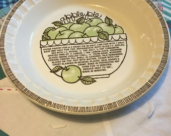 Vintage Recipe Apple Pie Plate Royal China Jeanette Corporation Made in The USA #4017