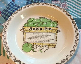Vintage Apple Pie Recipe Pie Plate #3833