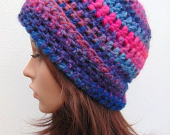 Pink Hat Warm Hat Blue Chunky Beanie Hat Womens Hat Crochet Hat Hand Crocheted Hat Wool Crochet Beanie Hat Handmade in Ireland