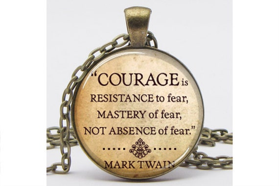 Mark Twain Courage Quote Pendant with Chain Altered Art Pendant Art Pendant Picture Pendant Resin Pendant