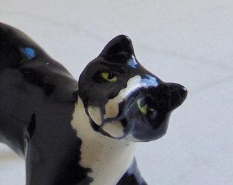 Tuxedo Cat Miniature Sculpture - Black and White - Pottery Cat - Ceramic Figurine - Sculpted Animal - Cat Figurine