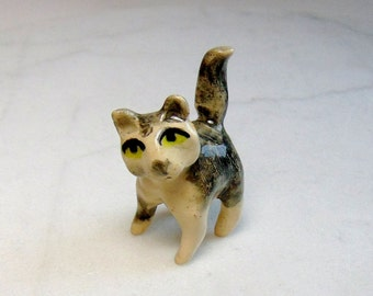 Kitten Terrarium Miniature - Gray and White Cat - Miniature Figurine - Terrarium Miniature - Cat Mini - Spotted Cat - Kitten Figurine