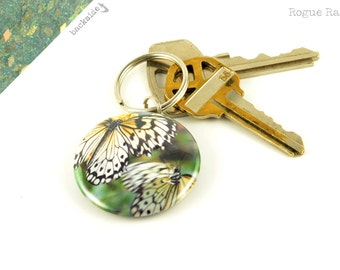 Butterfly Keychain - Glitter Key Chain - Monarch Butterfly Keyring - Flying Butterfy Accessory - Green Glitter - Gold Sparkles - Key Chains