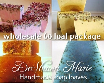 SOAP - 60 assorted 3LB Handmade Glycerin Soap Loaves, Wholesale Soap Loaves, Vegan Soap, Soap Gifts, Wedding Favors